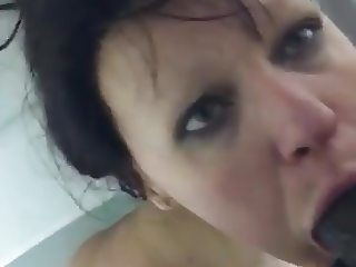 BCS Deep throats big black cock in bath tub