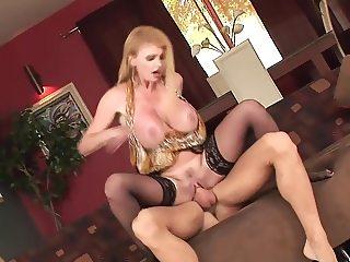 British big tits cougar in stockings fucks (TOP MATURE)