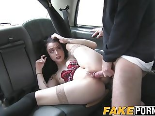 Incredibly sexy punk chick Alessa rides a dick in a taxi car