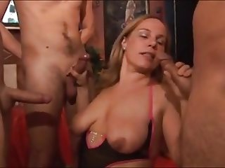 Hungarian milf with 3 guys