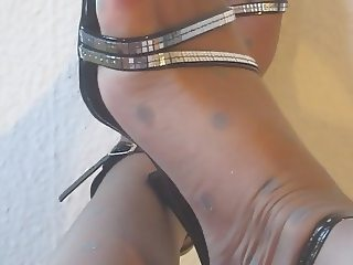 Heels and shiny Nylon Pantyhose