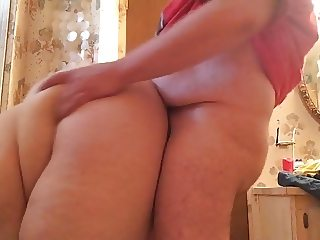 Bbw from behind bathroom quickie