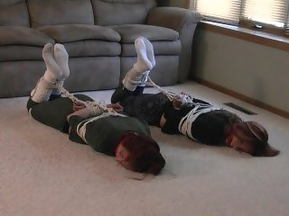 Jade and Destiny tied up and gagged in socks by a robber