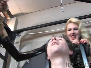 Mistresses Spit drench him