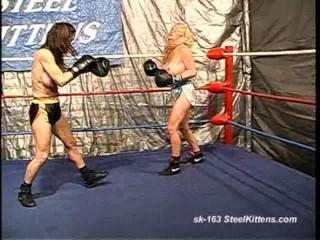Topless Boxing - Sandy vs Christine