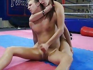 brunette mistress blows and handjobs slave boy