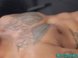 Inked buff dude jizz bang