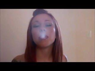 Redhead vampire smoking