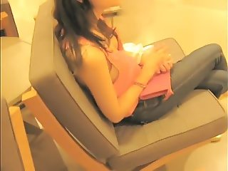brunette in waiting room hot tits in bra sideblouse