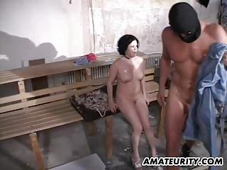 Ex girlfriend with big tits foursome with facials