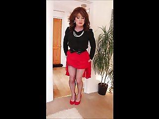 Swishy red pleated skirt