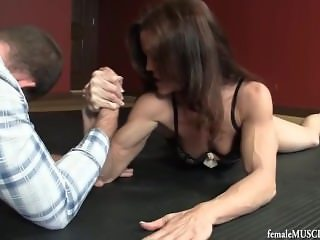 Mixed armwrestling beautiful and strong female body