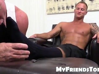 Dev loves to licking sucking and smelling Jason feet