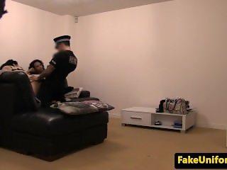 British babes blowing uniformed cop in trio