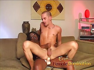 Dominant black girl sucks dick and drills her boyfriend's