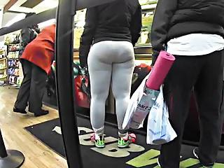 Thick Booty in grey spandex vpl donk