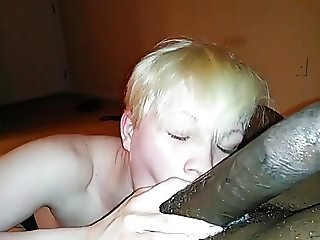 Blonde worship black cock and swallows