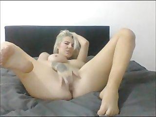 Blonde Teen Sucks own Feet and Fingers
