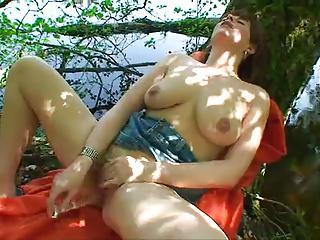 masturbation dildo outdoors busty redhair