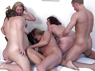 Private amateur party with 4 moms and 1 boy