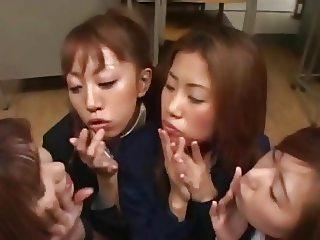 Four asian schoolgirls swap cum