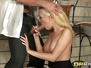 Clumsy Blue Angel receives a hot facial