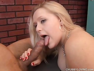 Big tits chubby blond beauty is a super hot fuck & loves cum