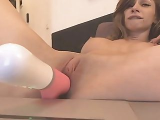 Rotating Dildo Inside Hot Babe Shaved Pussy