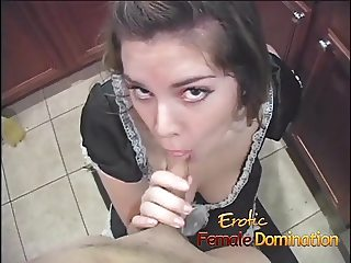 French maid sucks a dick and then hurts her man