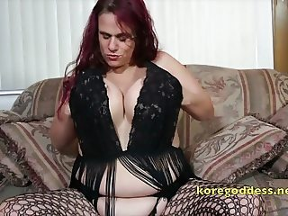 Babe with huge hanging tits wearing fishnets