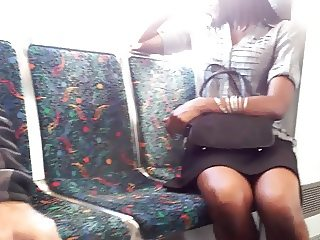 Dark chocolate legs on the train