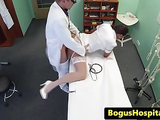 Uniform nurse blowing doctors cock