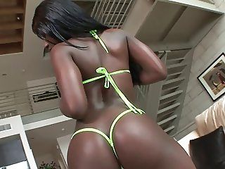 Black stud's thick schlong fills ebony's mouth and cunt