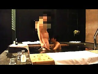 Extremely horny Chinese slut sucking cock in spa