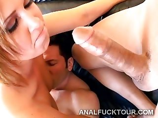 Big booty blondie is deeply ANALized by 2 huge shafts