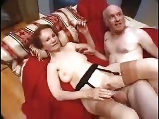 Older granny taken by two big dicks