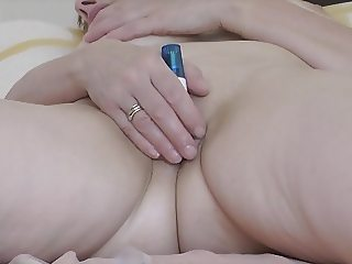 Wife masturbating with vibrator, heavy orgasm