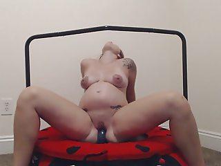 Horny Pregnant Dildo Workout