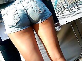 Vpl blue short sexy legs