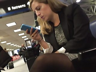 Candid pantyhose airport