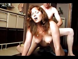 Red head doggy style great tits