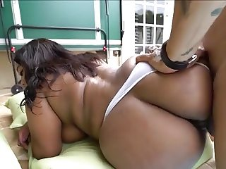 Chubby Ebony Doggy In Pool Interracial!