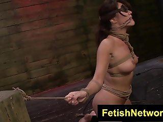 FetishNetwork Mena Li tied rides sybian