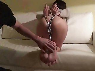 Bondage sluts feet and fat ass get tickled