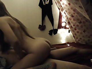 Teen girl rides to orgasm