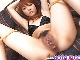Saki Tachibana tied gets sex toys in ass