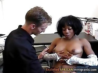 Young black babe seduced by horny perv