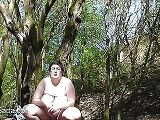 Nude in a Yorkshire wood (8a)