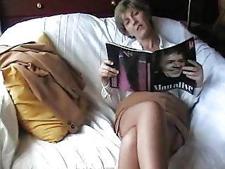British wife great crossed stocking clad legs