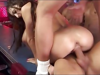 Skinny brunnette slut in creampie gangbang (part 2 of 2)